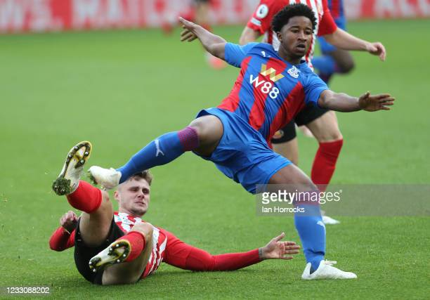 Kenton Richardson of Sunderland tackles David Boating of Palace during the Premier League 2 play off game between Crystal Palace U23 and Sunderland...
