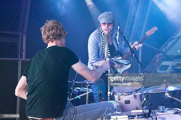 Kenton Shinn and Lucas Crowther of The Rifles perform on stage during the first day of YNot Festival 2011 on August 5 2011 in Matlock United Kingdom