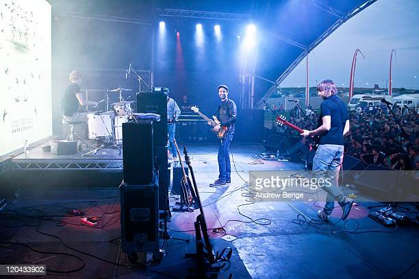 Kenton Shinn Lucas Crowther Joel Stocker and David Cartwright of The Rifles perform on stage during the first day of YNot Festival 2011 on August 5...