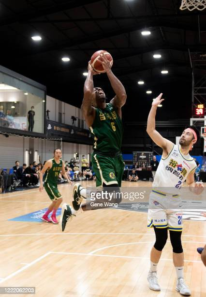 Kentrell Barkley of Taiwan beer attempt to made a layup shot during the SBL Finals Game Six between Taiwan Beer and Yulon Luxgen Dinos at Hao Yu...
