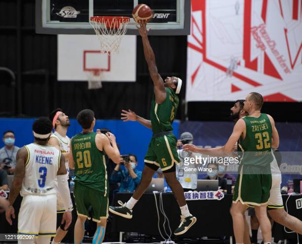 Kentrell Barkley of Taiwan beer attempts the basket during the SBL Finals Game Six between Taiwan Beer and Yulon Luxgen Dinos at Hao Yu Trainning...