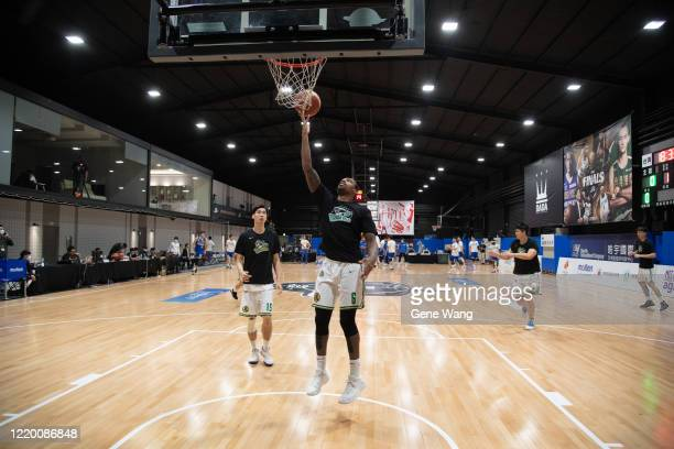 Kentrell Barkley of Taiwan Beer practice prior to the SBL Finals Game One between Taiwan Beer and Yulon Luxgen Dinos at Hao Yu Trainning Center on...