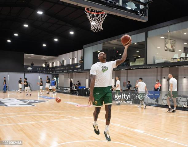 Kentrell Barkley of Taiwan Beer practice prior to the SBL Finals Game Six between Taiwan Beer and Yulon Luxgen Dinos at Hao Yu Trainning Center on...