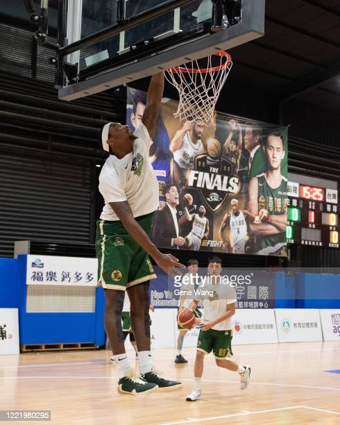 Kentrell Barkley of Taiwan Beer practices prior to the SBL Finals Game Six between Taiwan Beer and Yulon Luxgen Dinos at Hao Yu Trainning Center on...