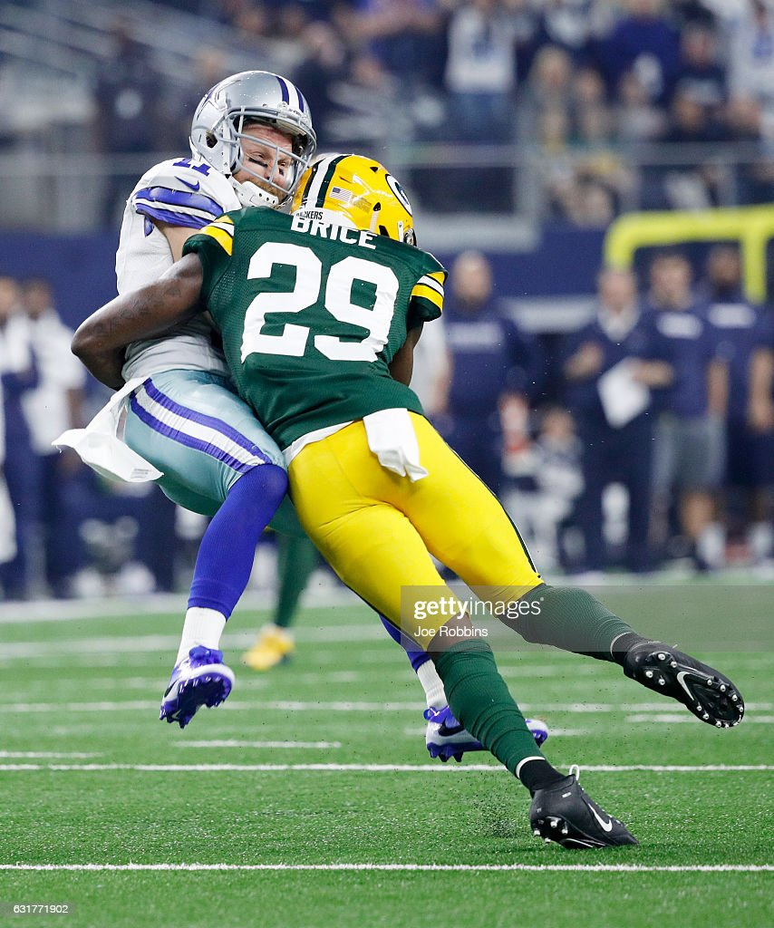 Kentrell Brice #29 of the Green Bay Packers tackles Cole Beasley #11 of the Dallas Cowboys in the first half during the NFC Divisional Playoff Game at AT&T Stadium on January 15, 2017 in Arlington, Texas.