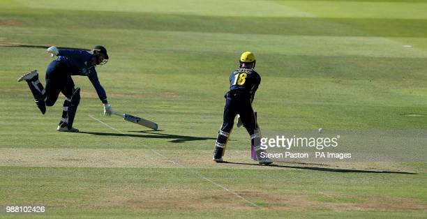 Kent's Alex Blake is run out during the Royal London One Day Cup Final at Lord's London