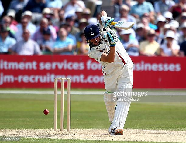 Kents Joe Denly hits out during day two of the tour match between Kent and Australia at The Spitfire Ground St Lawrence on June 26 2015 in Canterbury...