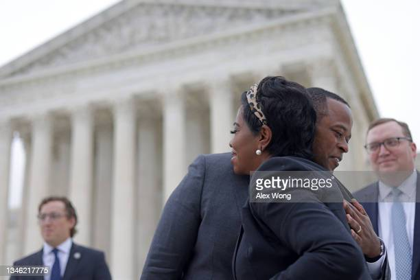 Kentucky Attorney General Daniel Cameron hugs President and Co-Founder of Sisters for Life Angela Minter after the oral arguments of the Cameron v....