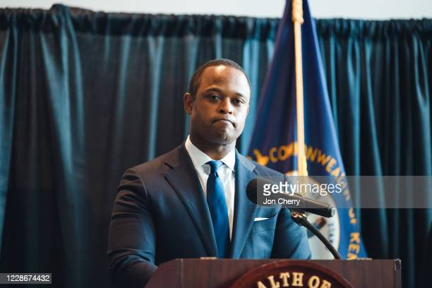 Kentucky Attorney General Daniel Cameron speaks during a press conference to announce a grand jury's decision to indict one of three Louisville Metro...
