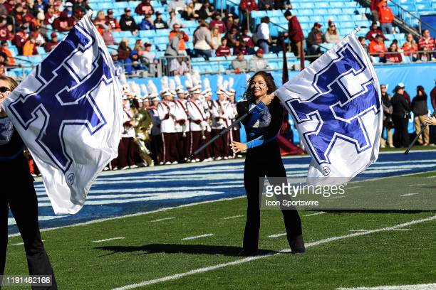 Kentucky band flag members during the Belk Bowl college football game between the Virginia Tech Hokies and the Kentucky Wildcats on December 31 at...