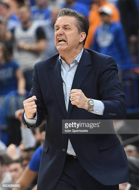 Kentucky basketball coach John Calipari during a Southeastern Conference Basketball Tournament game between the Tennessee Volunteers and the Kentucky...