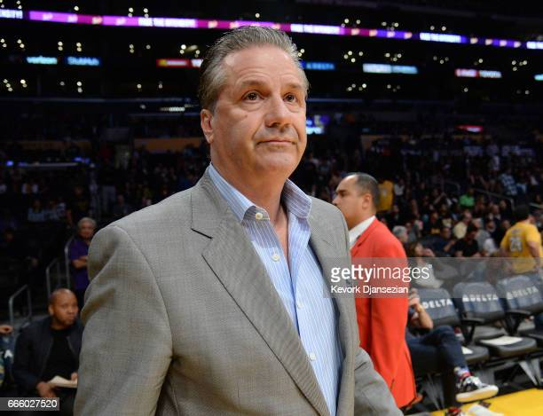 Kentucky coach John Calipari attends the Sacramento Kings and Los Angeles Lakers basketball game at Staples Center April 7 in Los Angeles California...