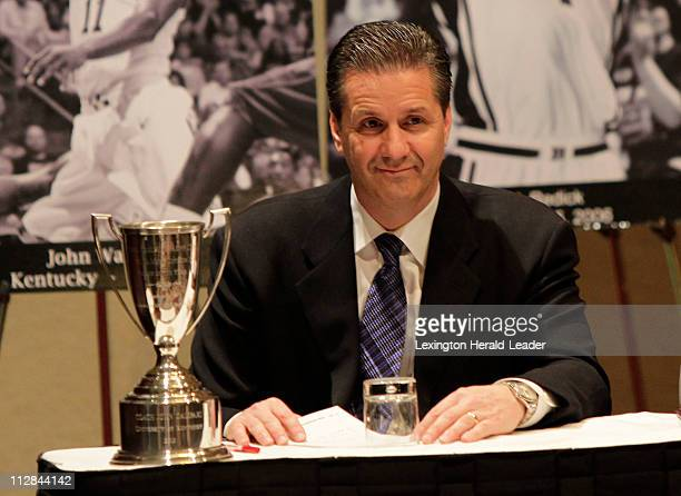 Kentucky coach John Calipari smiles at the crowd as he receives the Adolph Rupp National Coach of the Year award on Thursday April 1 in Indianapolis...