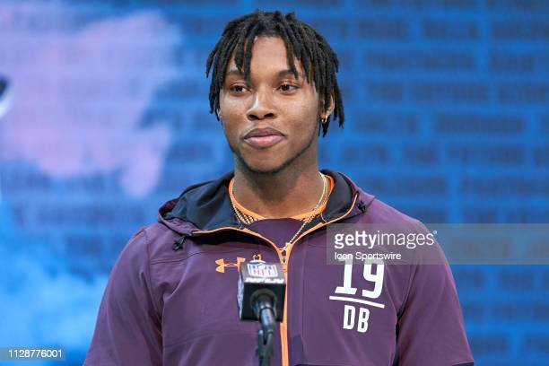Kentucky cornerback Lonnie Johnson answers questions from the media during the NFL Scouting Combine on March 03 2019 at the Indiana Convention Center...