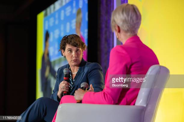 Kentucky Democrat Amy McGrath a former Marine fighter pilot speaks during the DNC Women's Leadership Forum conference in Washington DC US on Thursday...