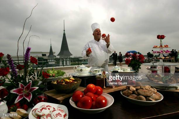 Kentucky Derby Chef Gil Logan juggles during a photo op on the day before the running of the 133rd Kentucky Derby on May 4, 2007 at Churchill Downs...