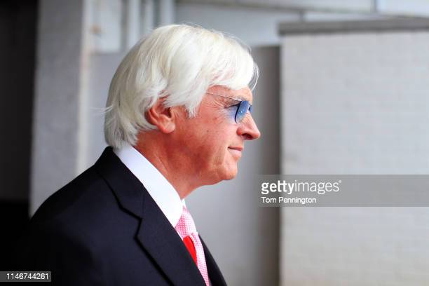 Kentucky Derby trainer Bob Baffert looks on before the 145th running of the Kentucky Oaks at Churchill Downs on May 3, 2019 in Louisville, Kentucky.
