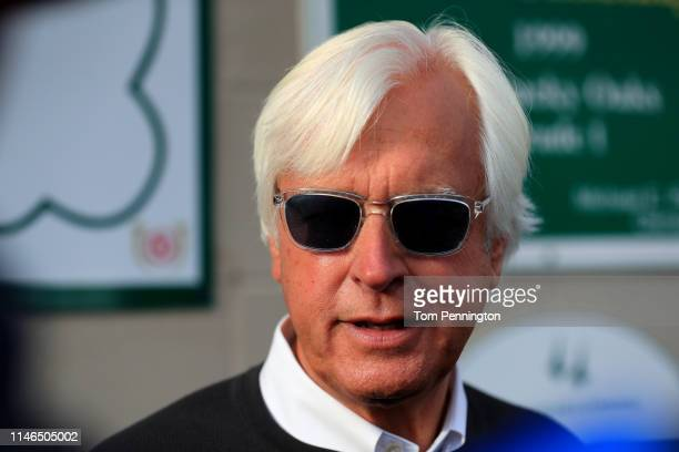 Kentucky Derby Trainer Bob Baffert looks on during morning workouts in preparation for the 145th running of the Kentucky Derby at Churchill Downs on...