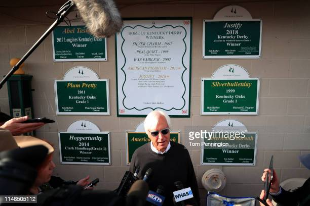 Kentucky Derby Trainer Bob Baffert talks to the media during morning workouts in preparation for the 145th running of the Kentucky Derby at Churchill...