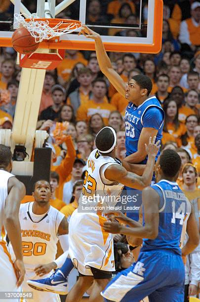 Kentucky forward Anthony Davis dunks over Tennessee Volunteers guard Cameron Tatum in the first half at ThompsonBoling Arena in Knoxville Tennessee...