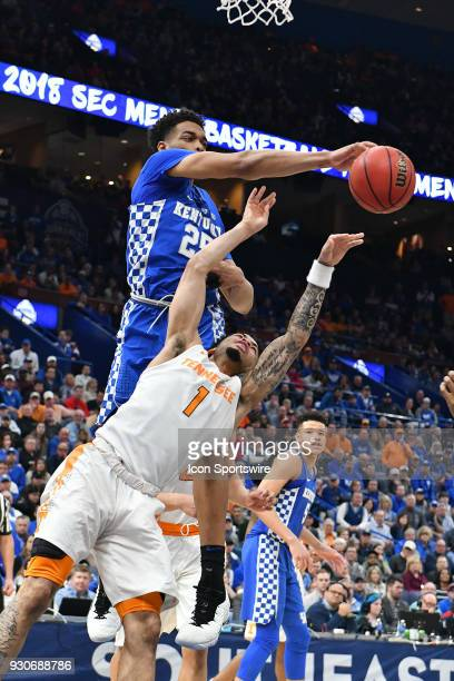 Kentucky forward PJ Washington blocks a shot by Tennessee guard Lamonte Turner during a Southeastern Conference Basketball Tournament game between...