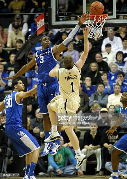 Kentucky forward Terrence Jones blocks a shot of Vanderbilt guard Brad Tinsley during game action at Memorial Gym in Nashville Tennessee Saturday...