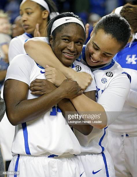 Kentucky freshman Linnae Harper and Makayla Epps celebrated defeating the Syracuse Orange in the second round of the NCAA Tournament at Memorial...