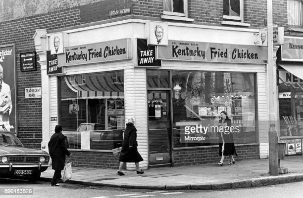 Kentucky Fried Chicken Take Away Restaurant at the corner of Tradescant Road and A203 London 24th April 1975