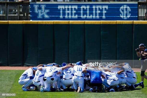 Kentucky getting ready before the start of the Lexington Regional College World Series baseball game between the Kentucky Wildcats and the Ohio...