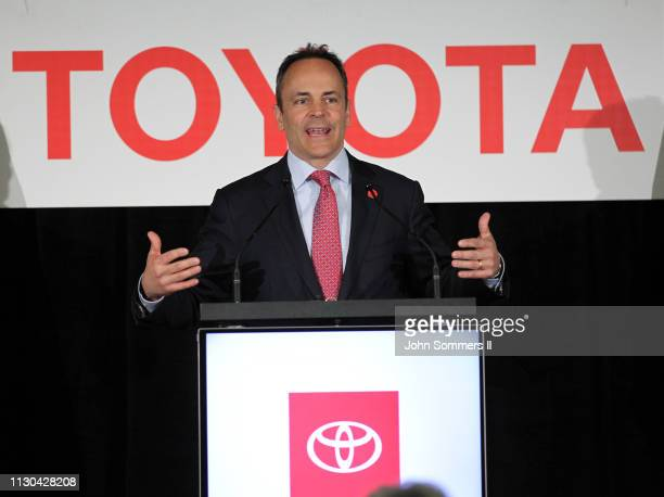 Kentucky Governor Matt Bevin addresses the crowd after they unveiled the new 2019 Toyota RAV4 Hybrid at the Toyota Motor Manufacturing plant on March...