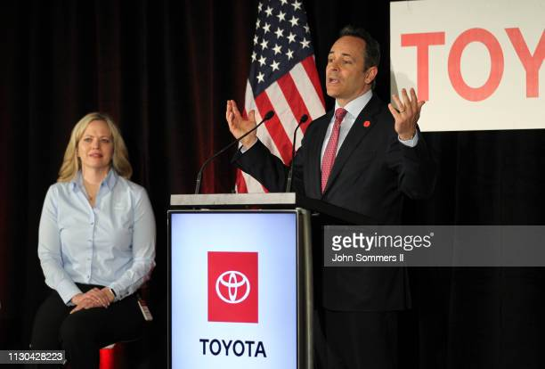 Kentucky Governor Matt Bevin addresses the crowd as Toyota Motor Manufacturing Kentucky President Susan Elkington looks on after they unveiled the...