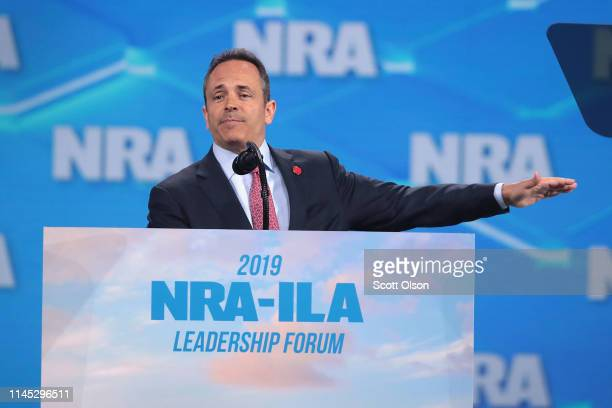 Kentucky governor Matt Bevin speaks to guests during the NRAILA Leadership Forum at the 148th NRA Annual Meetings Exhibits on April 26 2019 in...