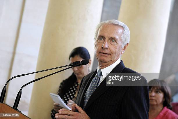 Kentucky Governor Steve Beshear gives a speech at the BasseNormandie's Regional council on August 2 2012 in Caen northwestern France Beshear is in...