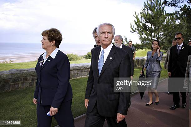 Kentucky Governor Steve Beshear walks during a visit at the American Military Cemetery on August 2 2012 in CollevillesurMer northwestern France...