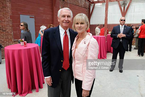 Kentucky Governor Steve Beshearand Jane Beshear attends Kentucky Derby Festival Pegasus Parade staging area at Louisville Stoneware on May 2 2013 in...