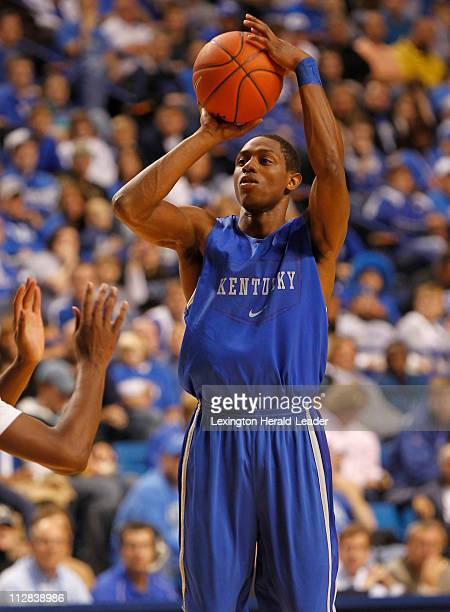Kentucky guard Brandon Knight hits a 3pointer during the BlueWhite scrimmage at Rupp Arena on Tuesday October 26 in Lexington Kentucky