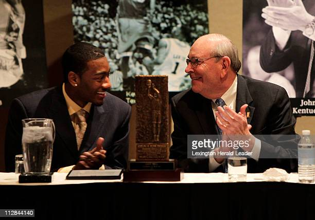 Kentucky guard John Wall shares a laugh with Herky Rupp after Wall was announced as the winner of the Adolph Rupp trophy for college basketball's...