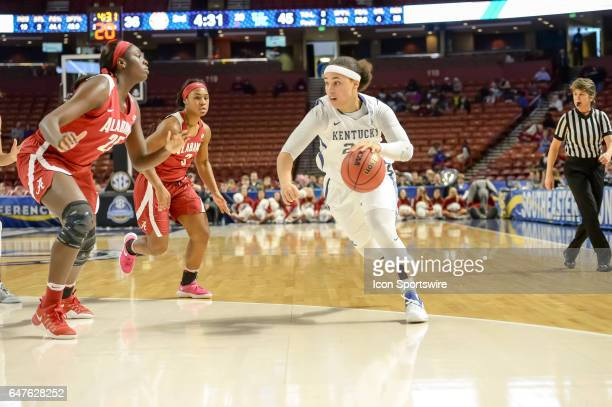 Kentucky guard Makayla Epps dribbles to the lane during 2nd half action between the Alabama Crimson Tide and the Kentucky Wildcats on March 03 2017...