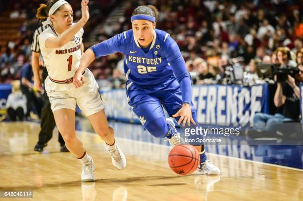 Kentucky guard Makayla Epps gets past South Carolina guard Bianca Cuevas Moore during 1st half action in the SEC Women's Championship semi final game...