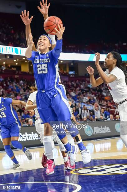 Kentucky guard Makayla Epps goes up with a shot during 1st half action in the SEC Women's Championship semi final game between the South Carolina...