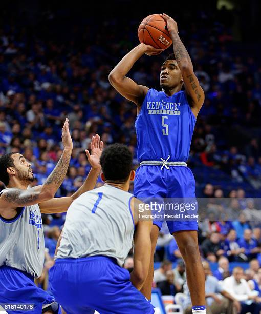 Kentucky guard Malik Monk hits a 3pointer during the team's BlueWhite scrimmage on Friday Oct 21 at Rupp Arena in Lexington Ky
