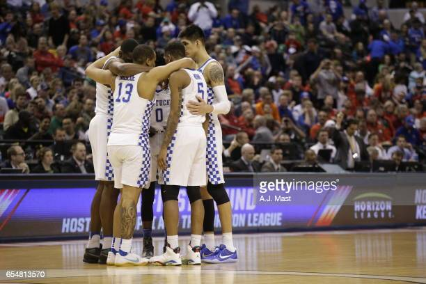 Kentucky huddles while playing Northern Kentucky University during the 2017 NCAA Men's Basketball Tournament held at Bankers Life Fieldhouse on March...