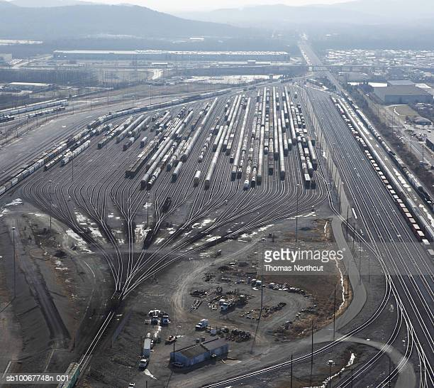usa, kentucky, louisville, aerial view of shunting yard - shunting yard stock photos and pictures