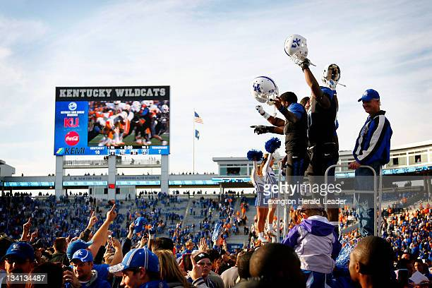 Kentucky players and fans celebrate after a victory over Tennessee on Saturday November 16 in Lexington Kentucky