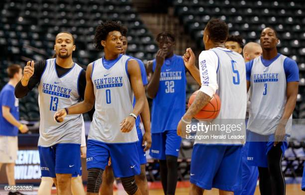 Kentucky players practice ahead of their firstround NCAA Tournament game against Northern Kentucky at Bankers Life Fieldhouse in Indianapolis on...