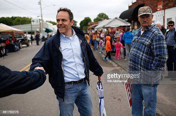 Kentucky Republican senatorial candidate Matt Bevin greets voters at the Fountain Run BBQ Festival while campaigning for the Republican primary May...