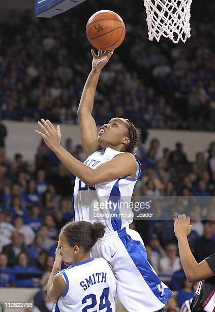Kentucky senior Amani Franklin scored two points on a rebound against South Carolina in the first half at Memorial Coliseum in Lexington Kentucky...