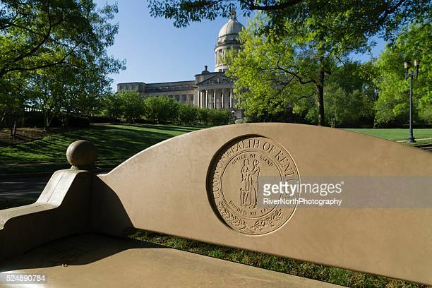 kentucky state capitol dome in frankfort - capital cities stock photos and pictures