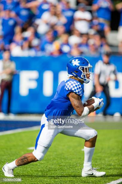 Kentucky wide receiver Lynn Bowden Jr returns a kickoff during a college football game between the Central Michigan Chippewas and the Kentucky...