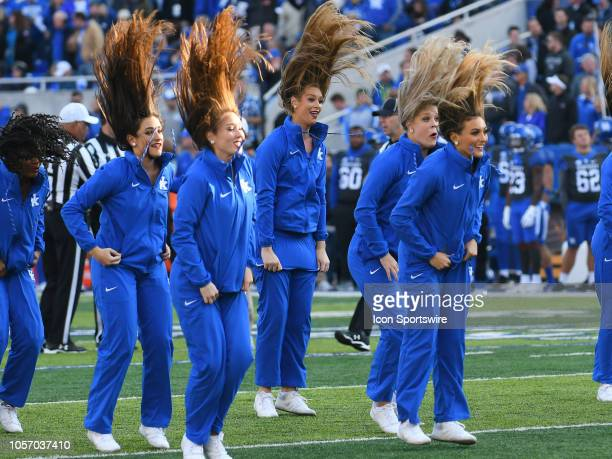 Kentucky Wildcat Cheerleaders perform during the game between the Georgia Bulldogs and the Kentucky Wildcats on November 03 at Commonwealth Stadium...
